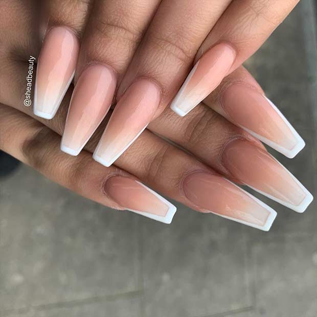 French Ombre Nails with White Edges