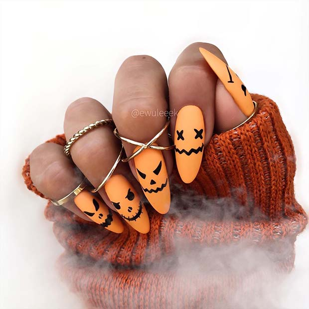 Fun Pumpkin Nails for Halloween