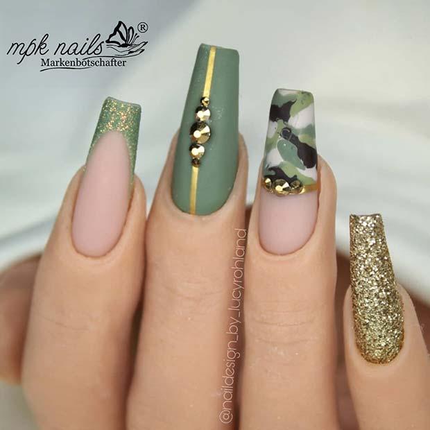 Glam Camo Nails