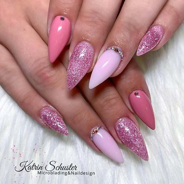 Glittery Pink Nail Design
