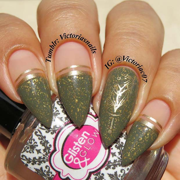 Gold and Olive Nail Design