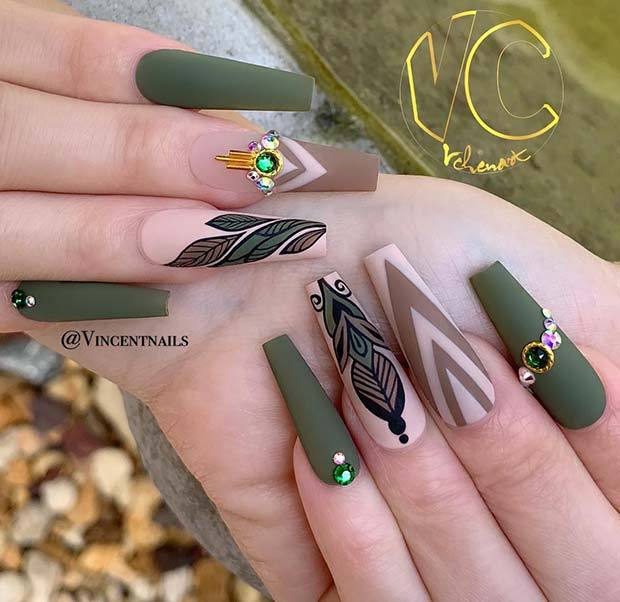 Matte Olive Coffin Nails