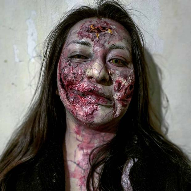 Gory and Scary Zombie Makeup Look
