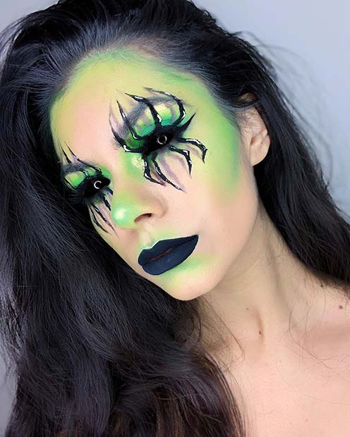 Green Makeup with Spider Eyes