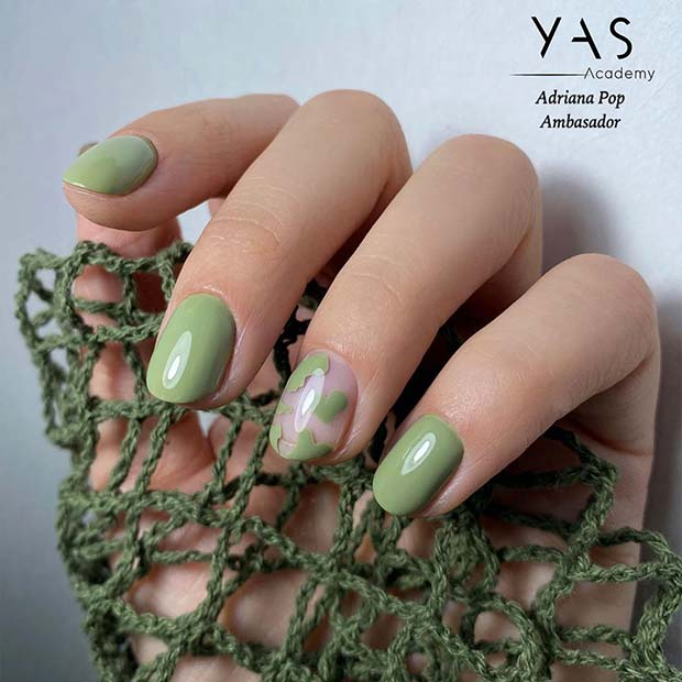 Green Nails with Hearts
