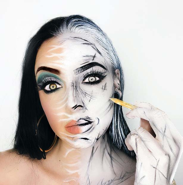 Half Face Halloween Makeup Idea