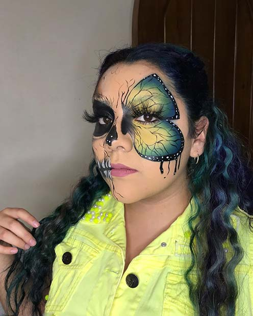Half Butterfly, Half Skull Halloween Makeup