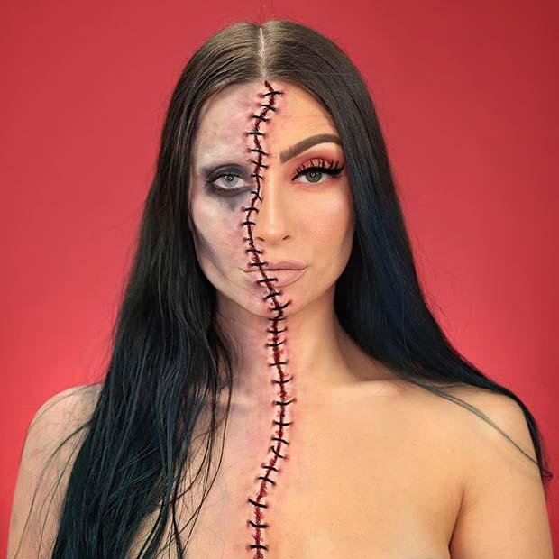 Half Face Zombie Look