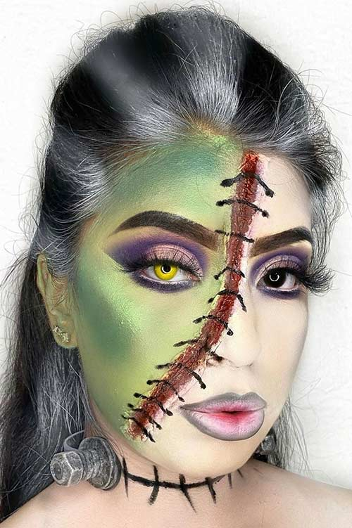 Half Face Frankenstein Bride Makeup