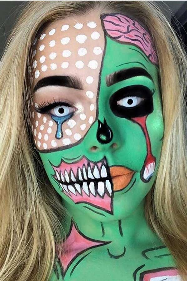 Half Face Pop Art Zombie