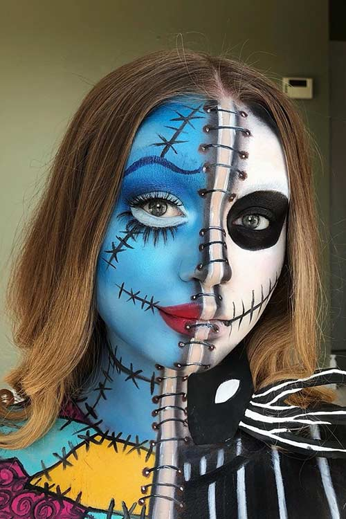 Half Jack Half Sally Halloween Makeup