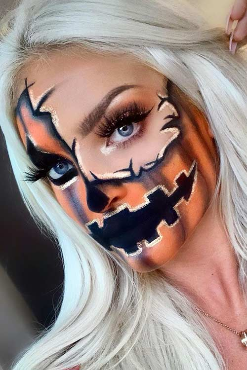 Half Pumpkin Halloween Makeup