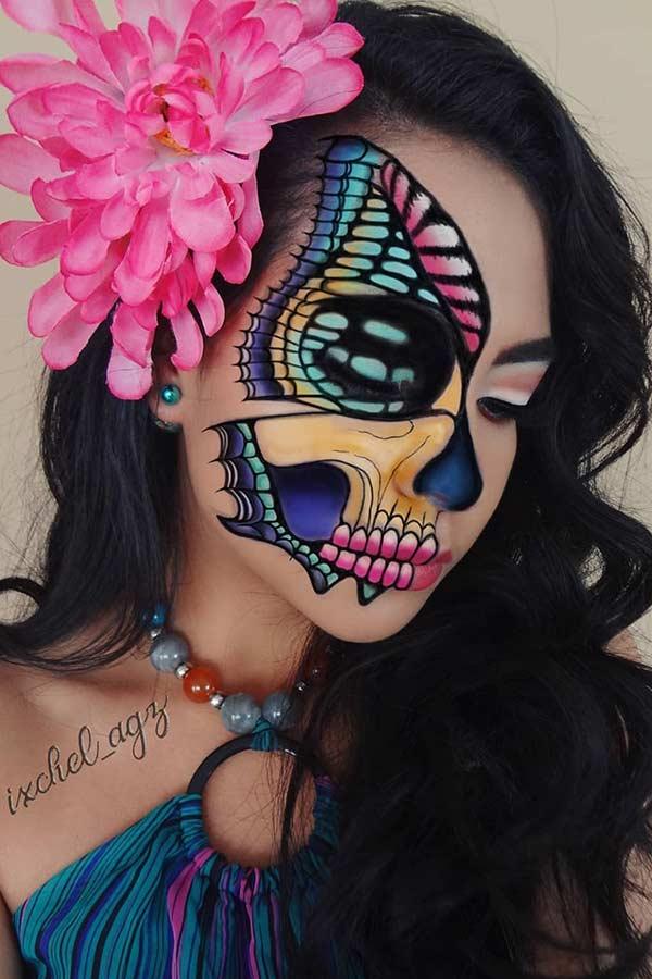 Half Skull Butterfly Illusion Makeup
