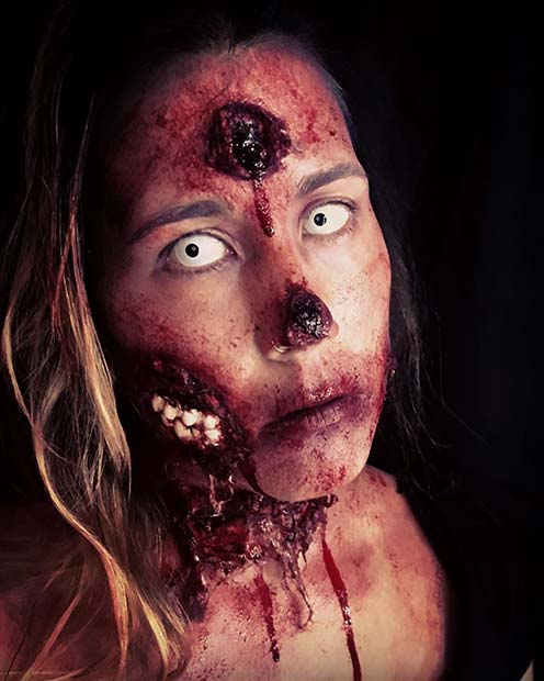 Zombie Illusion Makeup with Teeth