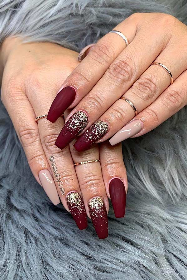 Matte Burgundy and Gold Glitter Nails