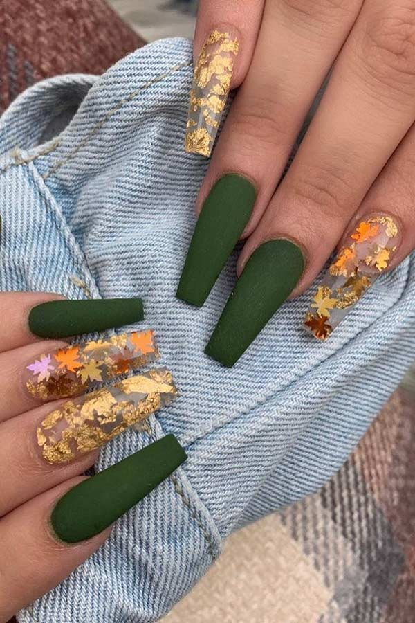 Matte Olive Nails with Gold Leaves