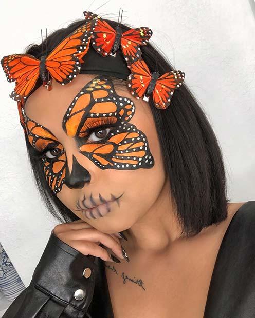 Monarch Butterfly Inspired Halloween Makeup