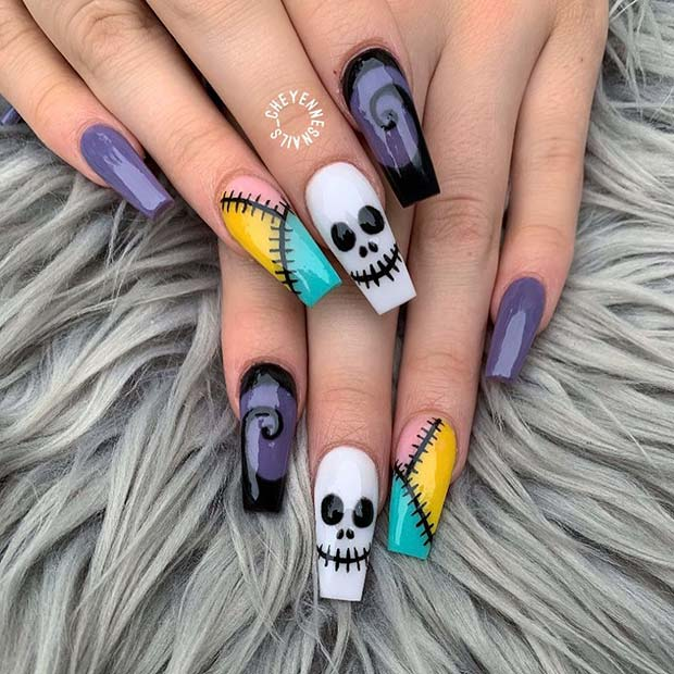 Nightmare Before Christmas Inspired Mani