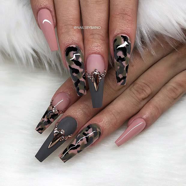 Camo Coffin Nails