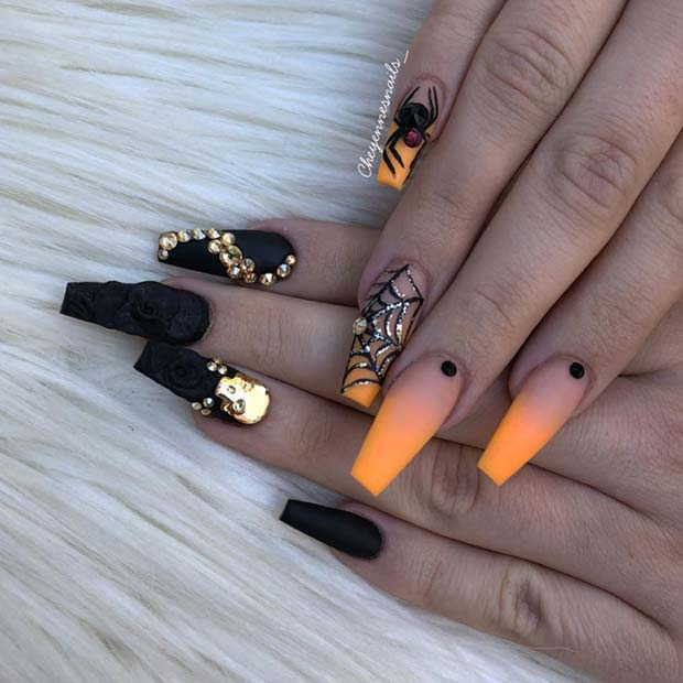 Orange and Black Halloween Acrylic Nails