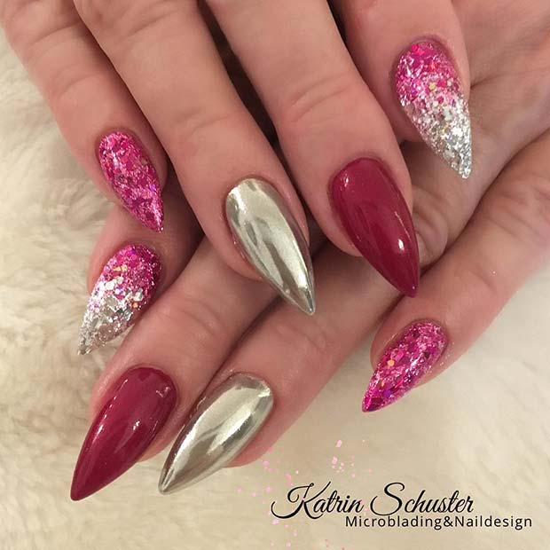 Pink, Chrome and Glitter Ombre