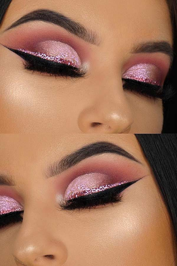 Pink Cut Crease with Glitter Liner