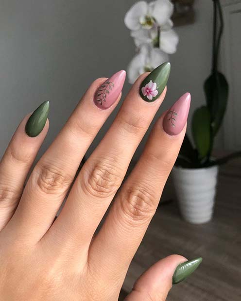 Pink and Olive Botanical Nails