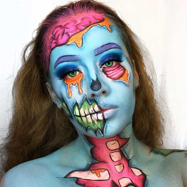 Pop Art Zombie Makeup Inspo