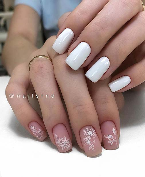 Pretty Nude and White Nails