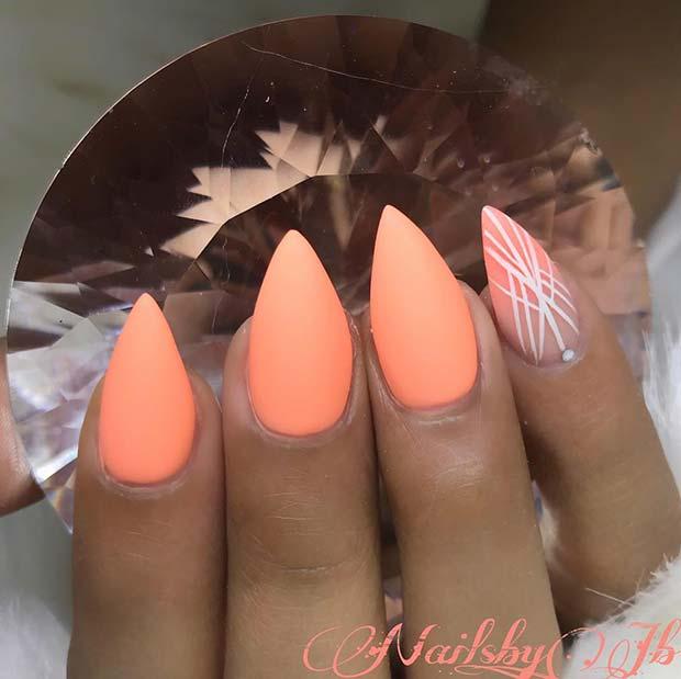 Matte Neon Orange Nails