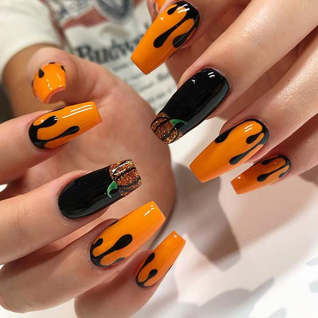 Pumpkins and Drips Halloween Acrylic Nails