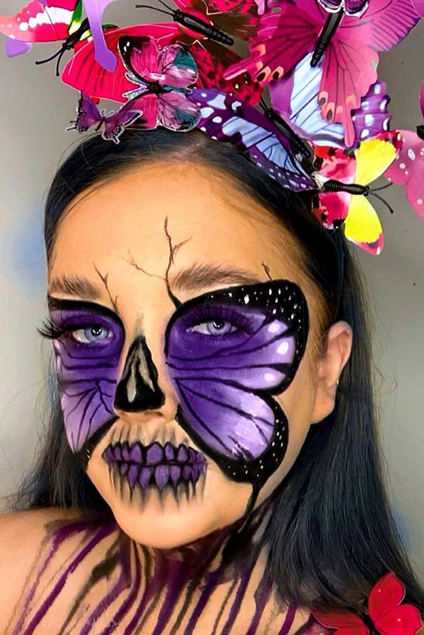 Purple Butterfly Skull Makeup Idea