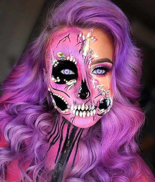 Purple Skeleton with Rhinestones
