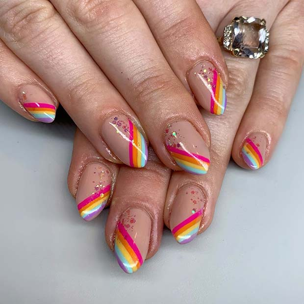 Short Stiletto Nails with Rainbow Tips