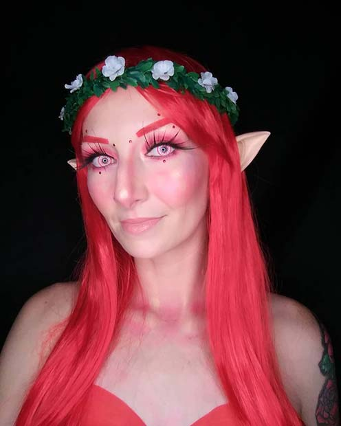 Red Fairy Costume and Makeup Idea