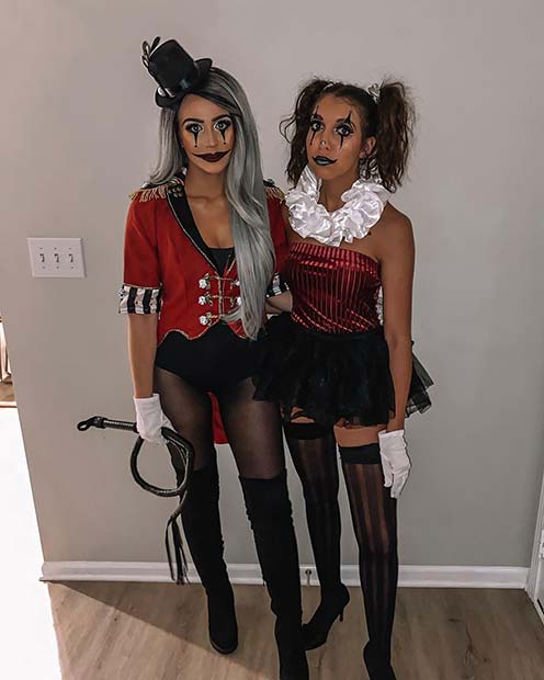Ring Master and Clown Duo Halloween Costumes