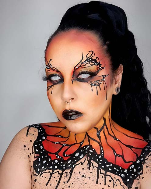 Scary Halloween Makeup with White Contact Lenses