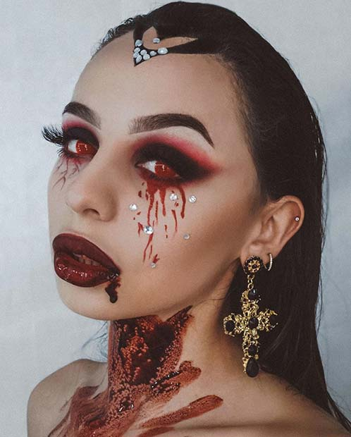 Scary Vampire Makeup with Blood and Red Eyes