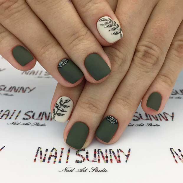 Short Olive Green Nails