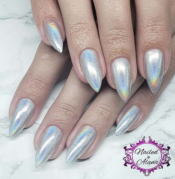 Holographic Stiletto Nails