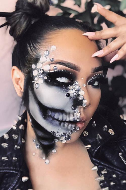 Skeleton Makeup with Rhinestones