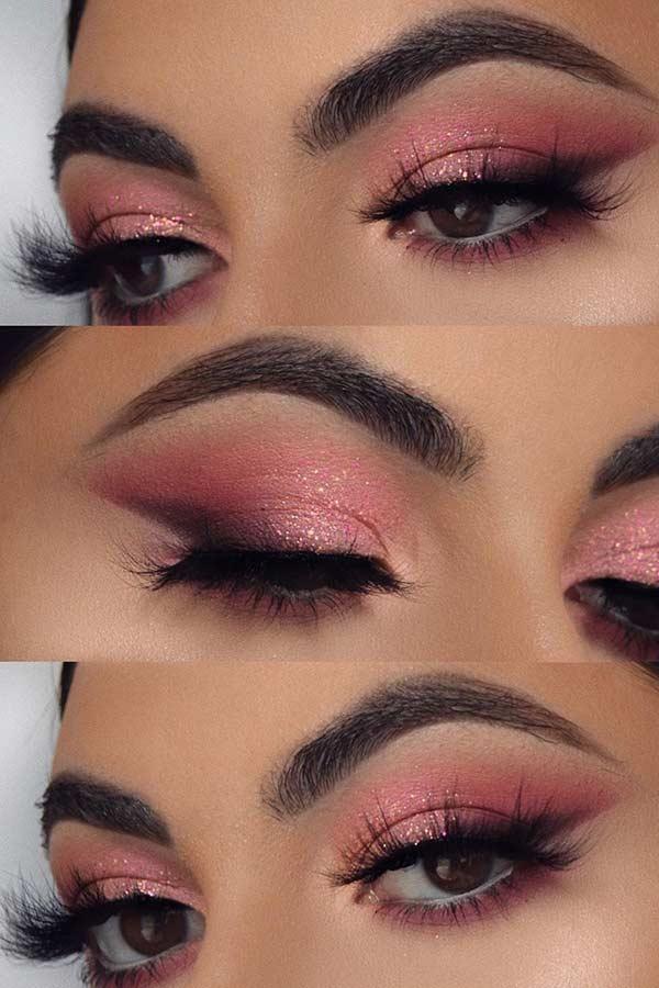 Sparkly Pink Eye Makeup Idea