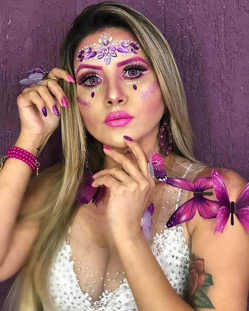 Sparkly Purple Rhinestone Makeup