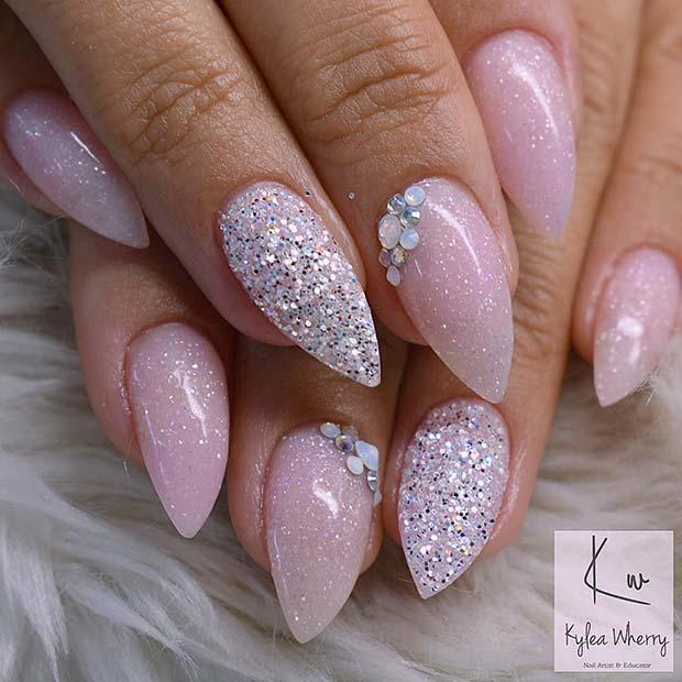 Sparkly Short Stiletto Nails