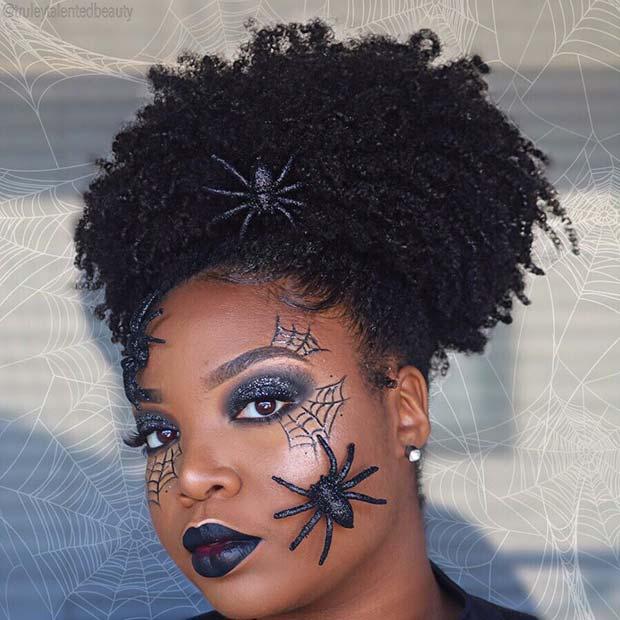 Sparkly Spider Web Makeup