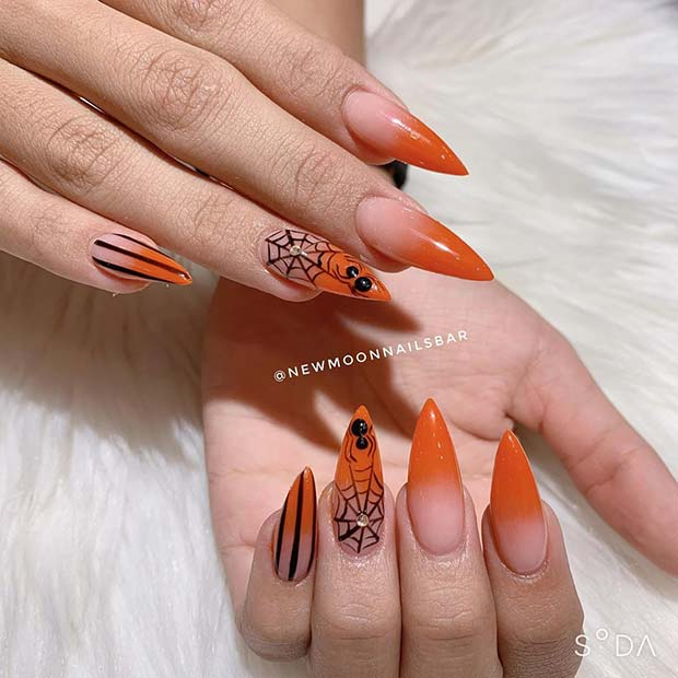 Ombre Orange Stiletto Nails