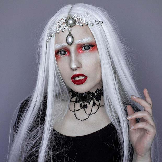 Spooky Red and White Vampire Makeup