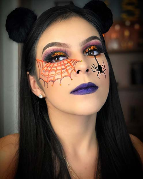 Easy Spider Makeup Idea