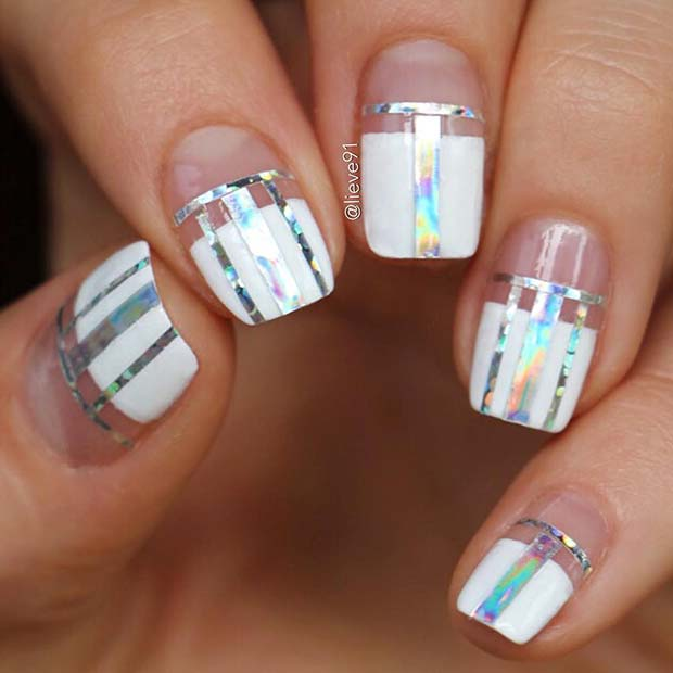 Trendy Nail Art with Silver Stripes