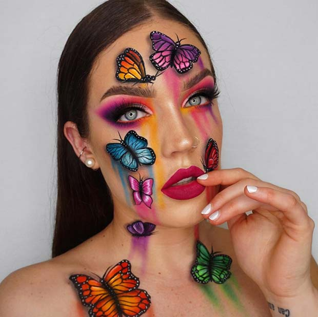 Vibrant Butterfly Makeup